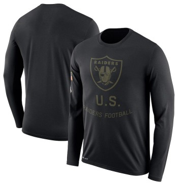 Men's Nike Las Vegas Raiders Black 2018 Salute to Service Sideline Performance Long Sleeve T-Shirt - Legend