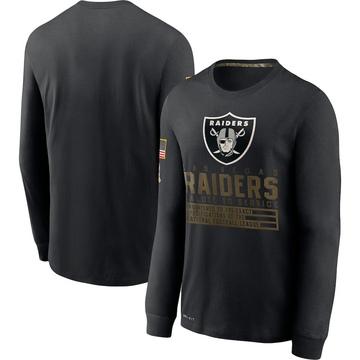 Men's Nike Las Vegas Raiders Black 2020 Salute to Service Sideline Performance Long Sleeve T-Shirt -