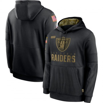 Men's Nike Las Vegas Raiders Black 2020 Salute to Service Sideline Performance Pullover Hoodie -