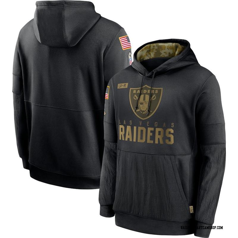 Men's Nike Las Vegas Raiders Black 2020 Salute to Service Sideline Performance Pullover Hoodie -