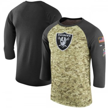 Men's Nike Las Vegas Raiders Camo /Anthracite Salute to Service 2017 Sideline Performance Three-Quarter Sleeve T-Shirt - Legend