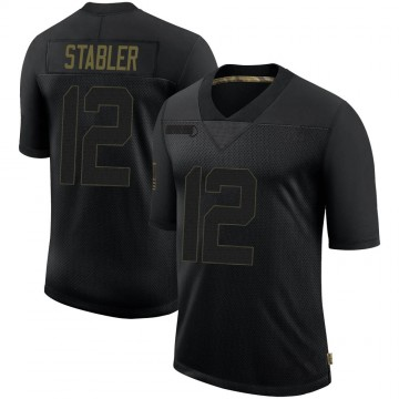 Men's Las Vegas Raiders Ken Stabler Black 2020 Salute To Service Jersey - Limited