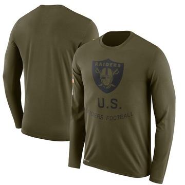 Men's Nike Las Vegas Raiders Olive 2018 Salute to Service Sideline Performance Long Sleeve T-Shirt - Legend