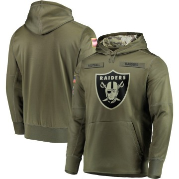 Men's Nike Las Vegas Raiders Olive 2018 Salute to Service Sideline Therma Performance Pullover Hoodie -