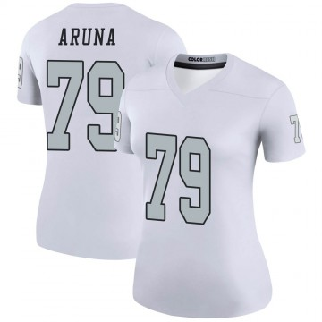 Women's Nike Las Vegas Raiders Ade Aruna White Color Rush Jersey - Legend