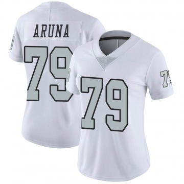 Women's Nike Las Vegas Raiders Ade Aruna White Color Rush Jersey - Limited