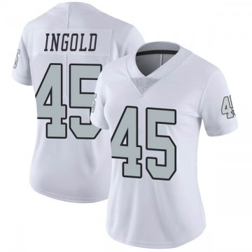 Women's Nike Las Vegas Raiders Alec Ingold White Color Rush Jersey - Limited