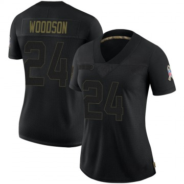 Women's Nike Las Vegas Raiders Charles Woodson Black 2020 Salute To Service Jersey - Limited
