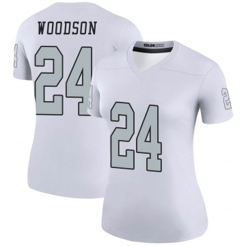 Women's Nike Las Vegas Raiders Charles Woodson White Color Rush Jersey - Legend