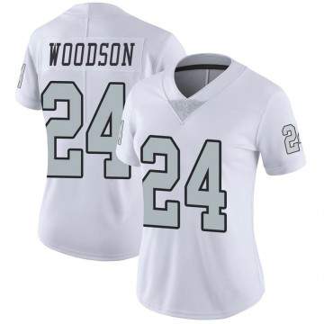Women's Nike Las Vegas Raiders Charles Woodson White Color Rush Jersey - Limited