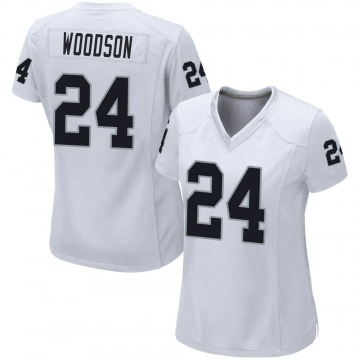 Women's Nike Las Vegas Raiders Charles Woodson White Jersey - Game