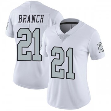 Women's Nike Las Vegas Raiders Cliff Branch White Color Rush Jersey - Limited