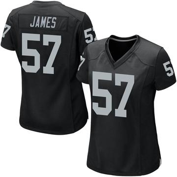 Women's Nike Las Vegas Raiders Cory James Black Team Color Jersey - Game