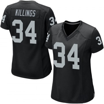 Women's Nike Las Vegas Raiders D.J. Killings Black Team Color Jersey - Game