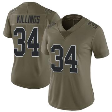Women's Nike Las Vegas Raiders D.J. Killings Green 2017 Salute to Service Jersey - Limited