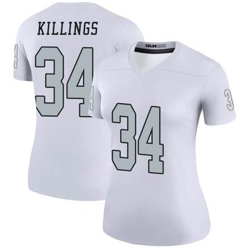Women's Nike Las Vegas Raiders D.J. Killings White Color Rush Jersey - Legend