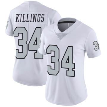 Women's Nike Las Vegas Raiders D.J. Killings White Color Rush Jersey - Limited