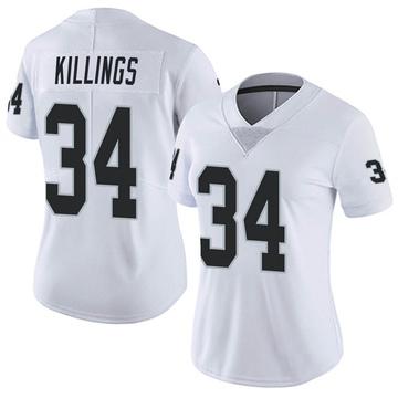 Women's Nike Las Vegas Raiders D.J. Killings White Vapor Untouchable Jersey - Limited