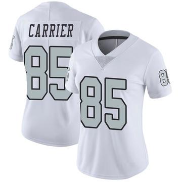 Women's Nike Las Vegas Raiders Derek Carrier White Color Rush Jersey - Limited