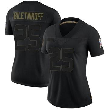 Women's Nike Las Vegas Raiders Fred Biletnikoff Black 2020 Salute To Service Jersey - Limited