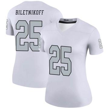 Women's Nike Las Vegas Raiders Fred Biletnikoff White Color Rush Jersey - Legend