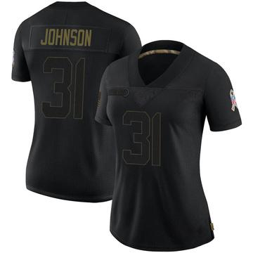 Women's Nike Las Vegas Raiders Isaiah Johnson Black 2020 Salute To Service Jersey - Limited