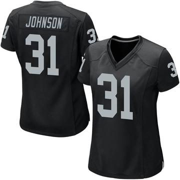 Women's Nike Las Vegas Raiders Isaiah Johnson Black Team Color Jersey - Game