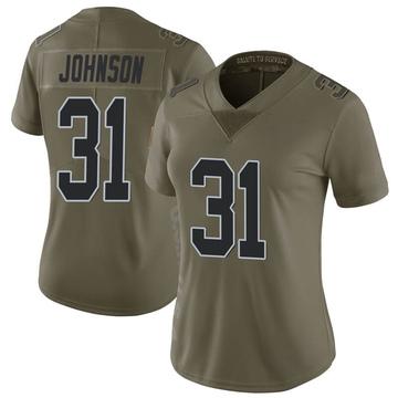 Women's Nike Las Vegas Raiders Isaiah Johnson Green 2017 Salute to Service Jersey - Limited