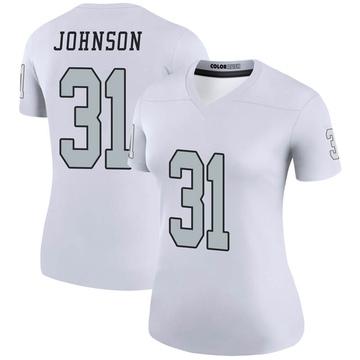 Women's Nike Las Vegas Raiders Isaiah Johnson White Color Rush Jersey - Legend