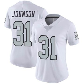 Women's Nike Las Vegas Raiders Isaiah Johnson White Color Rush Jersey - Limited