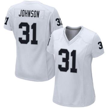 Women's Nike Las Vegas Raiders Isaiah Johnson White Jersey - Game