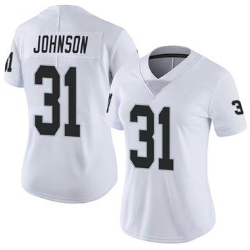 Women's Nike Las Vegas Raiders Isaiah Johnson White Vapor Untouchable Jersey - Limited