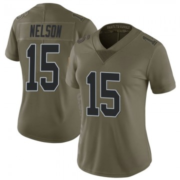 Women's Nike Las Vegas Raiders J.J. Nelson Green 2017 Salute to Service Jersey - Limited