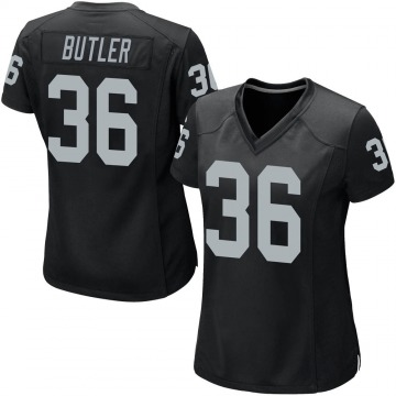 Women's Nike Las Vegas Raiders James Butler Black Team Color Jersey - Game