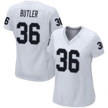 Women's Nike Las Vegas Raiders James Butler White Jersey - Game