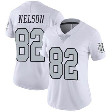 Women's Nike Las Vegas Raiders Jordy Nelson White Color Rush Jersey - Limited