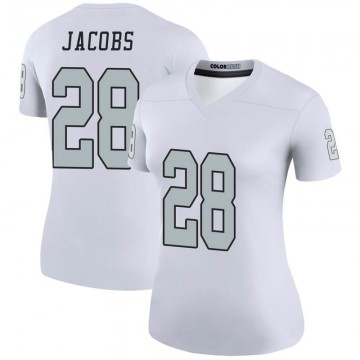 Women's Nike Las Vegas Raiders Josh Jacobs White Color Rush Jersey - Legend