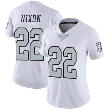 Women's Nike Las Vegas Raiders Keisean Nixon White Color Rush Jersey - Limited
