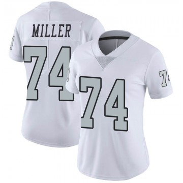 Women's Nike Las Vegas Raiders Kolton Miller White Color Rush Jersey - Limited