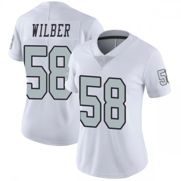 Women's Nike Las Vegas Raiders Kyle Wilber White Color Rush Jersey - Limited