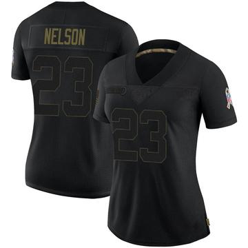 Women's Nike Las Vegas Raiders Nick Nelson Black 2020 Salute To Service Jersey - Limited