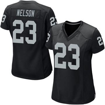 Women's Nike Las Vegas Raiders Nick Nelson Black Team Color Jersey - Game