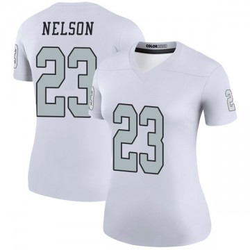 Women's Nike Las Vegas Raiders Nick Nelson White Color Rush Jersey - Legend