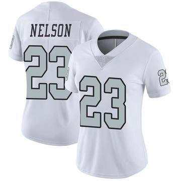Women's Nike Las Vegas Raiders Nick Nelson White Color Rush Jersey - Limited
