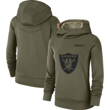 Women's Nike Las Vegas Raiders Olive 2018 Salute to Service Team Logo Performance Pullover Hoodie -