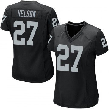 Women's Nike Las Vegas Raiders Reggie Nelson Black Team Color Jersey - Game