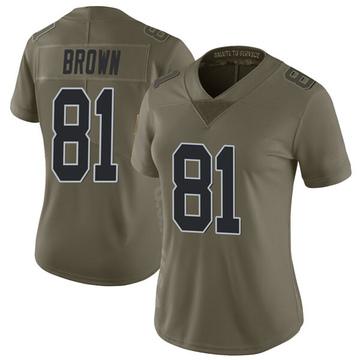 Women's Nike Las Vegas Raiders Tim Brown Green 2017 Salute to Service Jersey - Limited