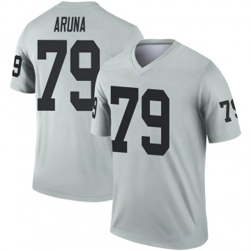 Youth Nike Las Vegas Raiders Ade Aruna Inverted Silver Jersey - Legend