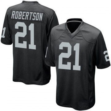 Youth Nike Las Vegas Raiders Amik Robertson Black Team Color Jersey - Game