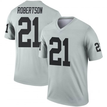 Youth Nike Las Vegas Raiders Amik Robertson Inverted Silver Jersey - Legend